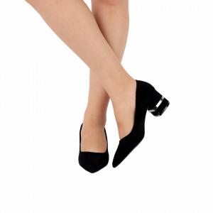 Pantofi cu toc cod OD0080 Negri - Pantofi cu toc gros din piele ecologică întoarsă cu un design unic Model deosebit de frumos pe toc Fi in pas cu moda si străluceste la urmatoarea petrecere. - Deppo.ro