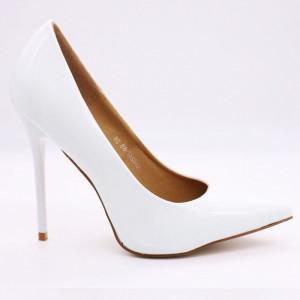 Pantofi cu toc cod Q182476B Albi - Pantofi cu toc albi din piele ecologică lăcuită de înaltă calitate ideali pentru evenimentele speciale din viața ta - Deppo.ro