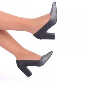 Pantofi Cu Toc cod S2212 Black - Pantofi cu vârf ascuțit şi toc gros din piele ecologică, foarte confortabili potriviți pentru orice eveniment - Deppo.ro