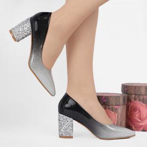 Pantofi cu toc cod SA1811 Arginti