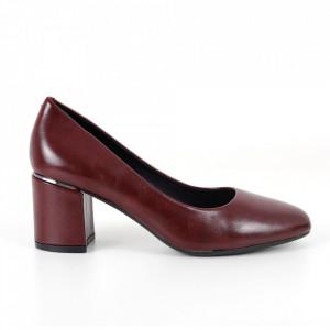 Pantofi cu toc din piele ecologică cod C-101 Wine