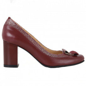Pantofi cu toc din piele naturală cod 1052 Bordo