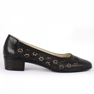 Pantofi cu toc din piele naturală Cod 1141 Negri