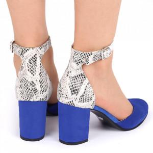 Pantofi cu toc din piele naturală Cod 1200 Albaștri - Pantofi cu toc din piele naturală moale cu imprimeu discret de piele de șarpe  Foarte comozi, acești pantofi vă conferă lejeritate și eleganță - Deppo.ro