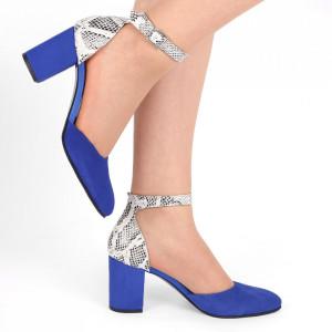 Pantofi cu toc din piele naturală Cod 1200 Albaștri
