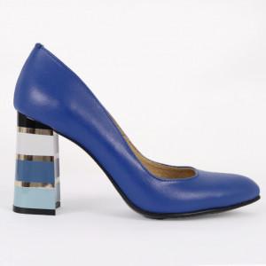 Pantofi cu toc din piele naturală Cod S21 Albaștri