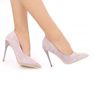 Pantofi Cu Toc Livia Purple - Pantofi din piele ecologică intoarsă cu vârf subțire, confortul purtării este sporit de tălpicul din piele ecologică - Deppo.ro