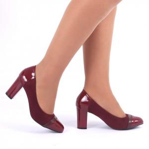 Pantofi Cu Toc Suedi Wine Red