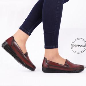 Pantofi din piele naturală Alana Vișinii - Pantofii îți transformă limbajul corpului și atitudinea. Te înalță fizic și psihic! Pantofi pentru dame din piele naturală - Deppo.ro