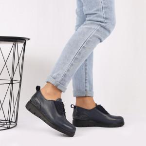Pantofi din piele naturală albaştri Cod 481 - Pantofi damă din piele naturală, foarte confortabili cu un tălpic special care conferă lejeritate chiar și în cazurile în care petreci mult timp stând în picioare. - Deppo.ro
