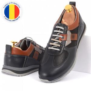 Pantofi din piele naturală albastri cod 6545
