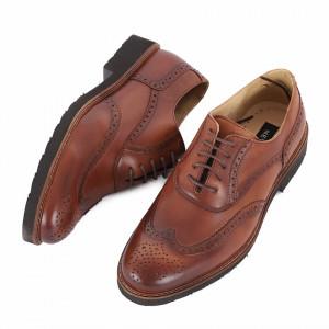 Pantofi din piele naturală Amado - Pantofi maro din piele naturală, model simplu, finisaje îngrijite cu undesing deosebit prin vârful perforat - Deppo.ro