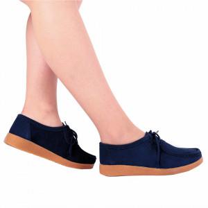 Pantofi din piele naturală Andreea Navy