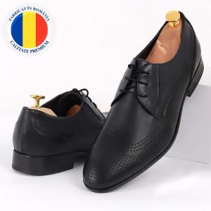 Pantofi din piele naturală bleumarin închis cod 3294