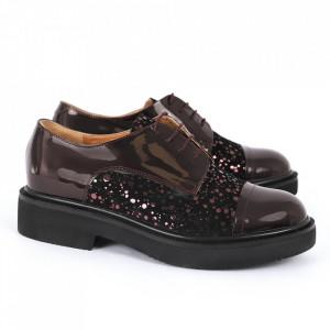Pantofi din piele naturală bordo Cod 482