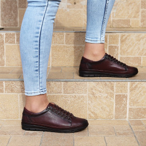 Pantofi din piele naturală Bordo Cod 6636 - Pantofi pentru dame din piele naturală Închidere cu şiret Calapod comod - Deppo.ro