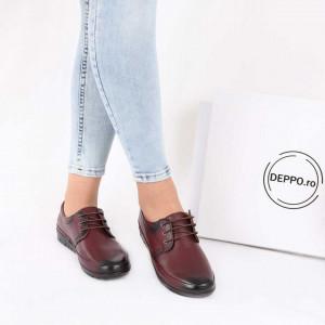 Pantofi din piele naturală Bordo Cod 856634