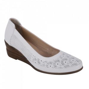 Pantofi din piele naturală cod 0634 White