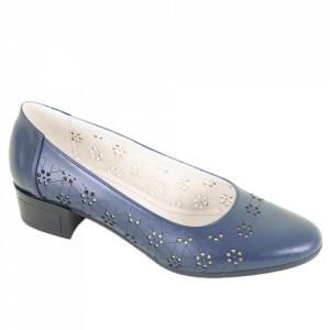 Pantofi din piele naturală cod 1141 Bleumarin