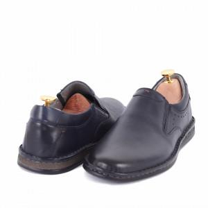 Pantofi din piele naturală cod 170 Albastru - Pantofi din piele naturală, model simplu, finisaje îngrijite cu undesign deosebit - Deppo.ro