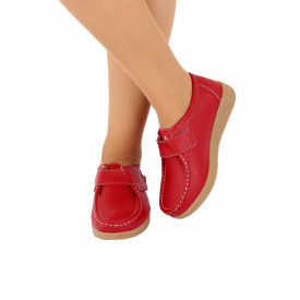 Pantofi din piele naturală cod 8518 Roși
