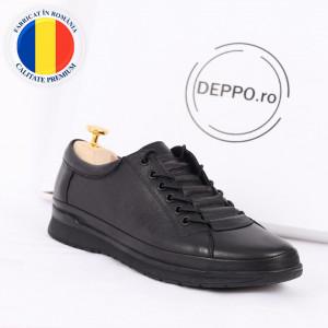 Pantofi din piele naturală cod 88812 Negri