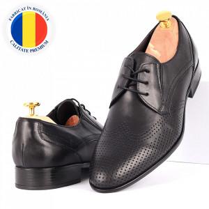 Pantofi din piele naturală Fox02 Negri