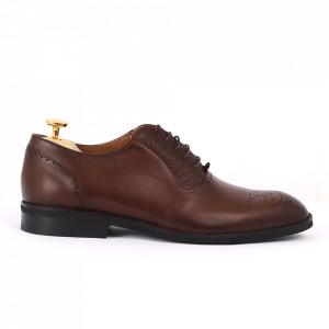 Pantofi din piele naturală maro cod 3231 - Pantofi pentru bărbaţi din piele naturală cu şiret, model simplu, finisaje îngrijite cu un design deosebit - Deppo.ro