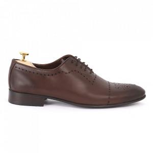 Pantofi din piele naturală maro cod 3292 - Pantofi pentru bărbaţi din piele naturală cu şiret, model simplu, finisaje îngrijite cu un design deosebit - Deppo.ro