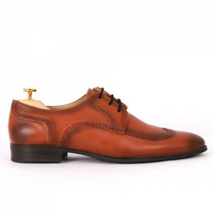 Pantofi din piele naturală maro închis cod 964-DARKBROWN - Pantofi din piele naturală moale pentru bărbați  Model simplu, finisaje îngrijite  Închidere prin șiret  Calapod comod - Deppo.ro