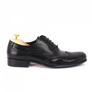 Pantofi din piele naturală negri cod 3254 - Pantofi pentru bărbaţi din piele naturală cu şiret, model simplu, finisaje îngrijite cu un design deosebit - Deppo.ro