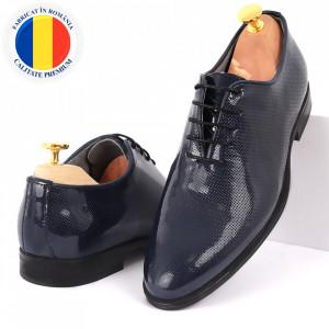 Pantofi din piele naturală pentru bărbați cod 02015 Albaştri