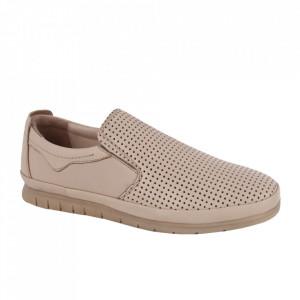 Pantofi din piele naturală pentru bărbați cod 1001-1 Krem