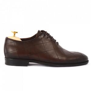 Pantofi din piele naturală pentru bărbați cod 2020 Maro Închis - Pantofi din piele naturală pentru bărbaţi, model simplu, finisaje îngrijite cu un design deosebit - Deppo.ro