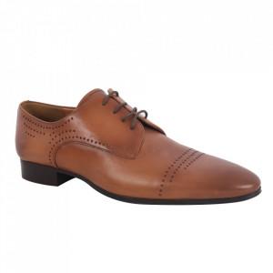 Pantofi din piele naturală pentru bărbați cod 2874 Maro