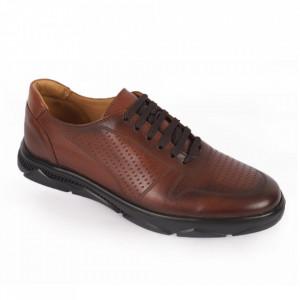 Pantofi din piele naturală pentru bărbați cod 323 Maro
