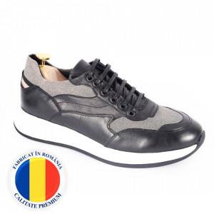 Pantofi din piele naturală pentru bărbați cod 328-1 Negru