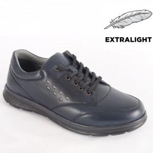 Pantofi din piele naturală pentru bărbați cod 4201 Navy Blue