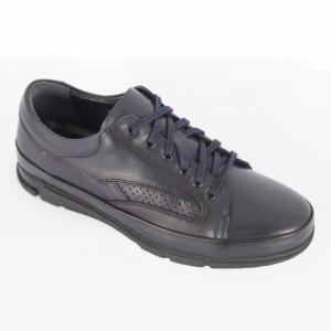 Pantofi din piele naturală pentru bărbați cod 457 Navy