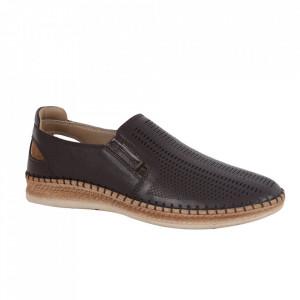 Pantofi din piele naturală pentru bărbați cod 85028 Kahve