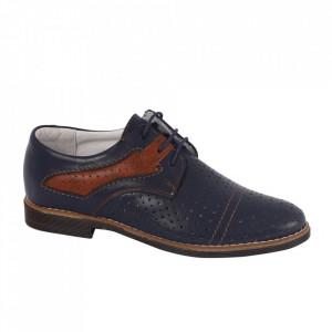 Pantofi din piele naturală pentru dame cod 13646 Albastru