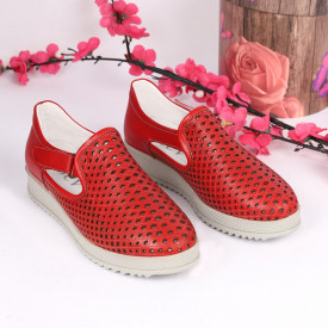Pantofi din piele naturală roşii Cod 2490