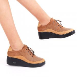 Pantofi pentru dame cod 176853 Maro - Pantofi din piele ecologica cu închidere prin șiret - Deppo.ro