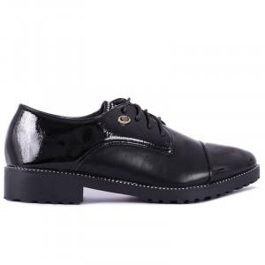Pantofi pentru dame cod H07 Negri - Pantofi din piele ecologică lăcuită cu închidere prin șiret - Deppo.ro