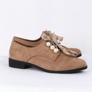 Pantofi pentru dame cod T286 Bej - Pantofii îți transformă limbajul corpului și atitudinea. Te înalță fizic și psihic!  Pantofi pentru dame din piele ecologică întoarsă - Deppo.ro