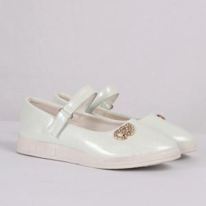 Pantofi pentru fete cod CP66 Albi - Pantofi pentru fete cu un design lejer ceea ce ii face foarte comozi la purtare - Deppo.ro