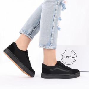 Pantofi Sport Melany Black - Pantofi sport pentru dame cu talpă înaltă din spumă foarte comodă și ușoară -piele ecologică întoarsă cu închidere prin șiret - Deppo.ro