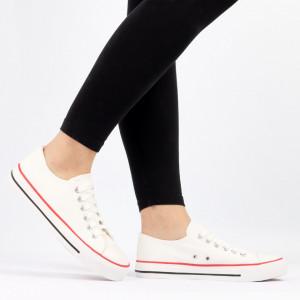 Pantofi Sport pentru dame Cod Ten85-White - Pantofi sport pentru dame,din material textil  Foarte ușori și comozi  Închidere prin siret. - Deppo.ro