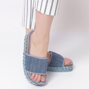Papuci Damă din piele ecologica cod AG007-Blue