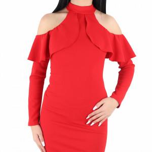 Rochie Tresa Red - Rochie roşie cu umerii decupaţi, chic și elegantă, usor de accesorizat fiind ideală pentru orice eveniment. - Deppo.ro